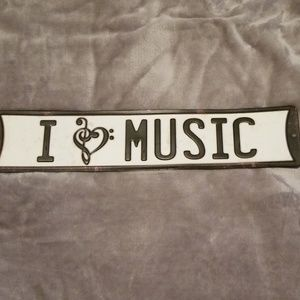 """Rustic looking """"I Love Music"""" sign!"""